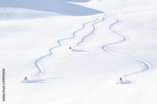 Snowmachine and rider in Alaskan backcountry. Fototapet