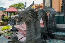 Sculpture Of Dragon In Budhist Temple Brahma Vihara-Arama Banjar In Lovina, Indonesia, Bali