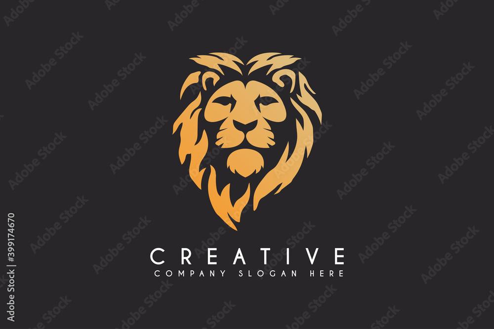 Fototapeta lion vector logo design isolated on black background