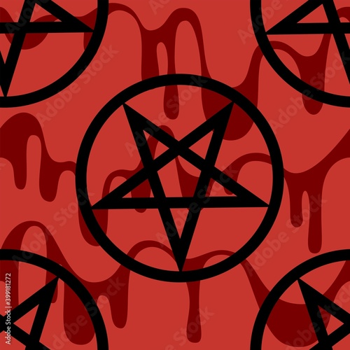 Fotografie, Obraz Seamless pattern with black  pentagram on on a bloody red background, gothic or