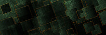 Dark Green And Luxury Golden Grunge Squares Abstract Banner Design. Geometric Tech Vector Background