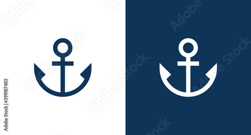 Fényképezés Ship anchor icon illustration isolated vector sign symbol
