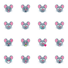 Mouse Emoji Collection, Flat Icons Set, Colorful Symbols Pack Contains - Mouse Emoticon, Smiling Face, Happy Mood Expression, Blowing Kiss, Winking Eye . Vector Illustration. Flat Style Design