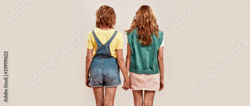 Fotografie, Obraz Back view of two young girls, twin sisters in casual wear holding hands, posing