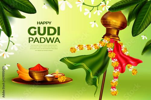 Fototapeta illustration of Gudi Padwa ( Lunar New Year ) celebration of India obraz
