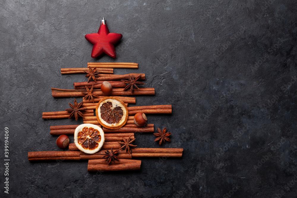Obraz Christmas card with fir tree shaped spices fototapeta, plakat