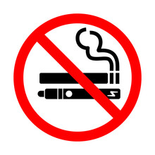 No Smoking No Vaping Sign. Forbidden Sign Icon Isolated On White Background Vector Illustration. Cigarette, Vape And Smoke And In Prohibition Circle.
