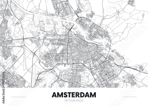 Photographie City map Amsterdam Netherlands, travel poster detailed urban street plan, vector
