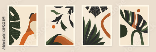 Modern minimalist abstract aesthetic illustrations with plants. Contemporary wall decor. Collection of creative artistic posters.  - fototapety na wymiar