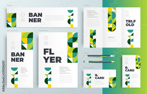Canvas Print Agriculture theme minimal geometric Set flyer cover, tri-fold, banner, roll up b