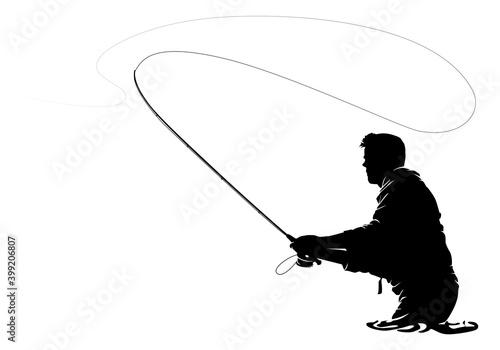 Fototapeta Fly fisherman fishing