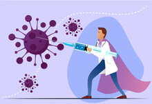 COVID-19 Virus Vaccine Poster. Doctor Fighting Coronavirus With Syringe. Injection, Prevention, Immunization, Cure And Treatment For 2019-ncov Infection. Fighting The COVID-19 Epidemic With Hope 2021.