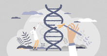 Biology As Gene Manipulation And DNA Engineering Science Tiny Person Concept