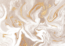 Beige Liquid Marble Canvas Abstract Painting Background With Gold Line Texture.