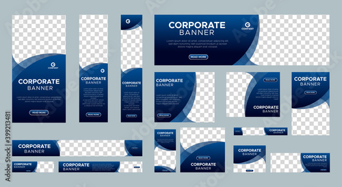 Abstract banner design web template Set, Horizontal header web banner. Modern Gradient Blue cover header background for website design, Social Media Cover ads banner, flyer, invitation card - fototapety na wymiar