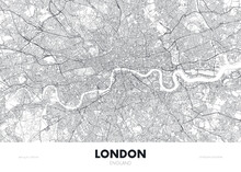 City Map London England, Travel Poster Detailed Urban Street Plan, Vector Illustration
