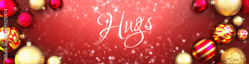 Valokuvatapetti Hugs and Christmas card, red background with Christmas ornament balls, snow and