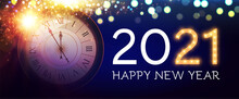 Happy New 2021 Year Background With Clock, Snowflakes And Bokeh Effect