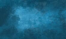 Sfondo Azzurro Acquerello Con Trama Nuvolosa E Grunge Marmorizzato, Nebbia Morbida E Illuminazione Nebulosa E Colori Pastello. Banner Web Lungo. Sbiadito Al Centro.