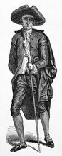 Neapolitan Elegant Dressed Old Man With Walking Stick Isolated On White Background. Ancient Grey Tone Etching Style Art By Gaucherd, Le Tour Du Monde, 1861