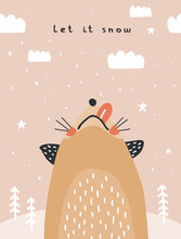 Let It Snow. Cute Winter Holidays Vector Illustration With Funny Ginger Fox. Hand Drawn Funny Fox, Fluffy Clouds And Trees Isolated On A Light Salmon Pink Background. Infantile Style Christmas Card.
