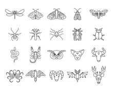 Outline Icon Set Of Mystic Animals And Insects. Butterfly, Moth, Dragonfly, Spider, Beetle, Scorpion, Snake, Owl, Deer, Cat, Bull, Aries, Raven, Octopus, Bat