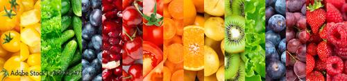 Fotografie, Obraz Background of fruits and vegetables. Fresh color  food