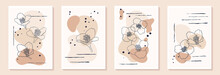 Set Of Creative Minimalist Hand Draw Illustrations Floral Outline, Butterfly Silhouette And Pastel Biege Simple Shape For Wall Decoration, Postcard Or Brochure Cover Design