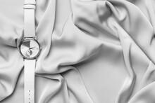 Wrist Watch On Fabric Background