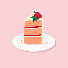 Colorful Sweet Cake Slice. A Piece Of Cake For Happy Birthday, Weddings, Celebrations, Greeting, Invitation Cards. Cranberry Cake On Plate. Vector Illustration In Cartoon Flat Style.