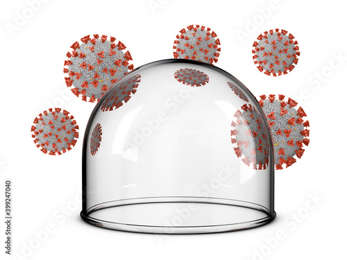 Fotografie, Obraz A glass dome around which coronaviruses on a white background