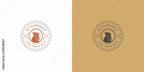 Foto Butcher shop logo vector illustration rooster head silhouette good for poultry f