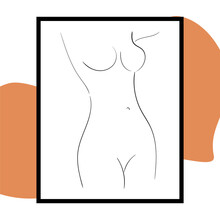 Vector Graphic Of Hand Drawn Beauty Body Sketch Art. Woman Body Nude Drawing. Vintage Art Deco Hand Drawn Simple Illustration. Suits For Posters, Tattoos, Printing, Postcard Or Brochure Cover Design.