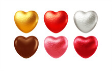 Set Of Realistic Heart Shaped Chocolates Wrapped In Foil Candy Wrapper. Festive Design Element For Happy Valentines Day. Vector Illustration