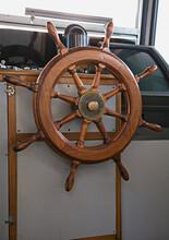 Steering Wheel In Boat's Cabin.