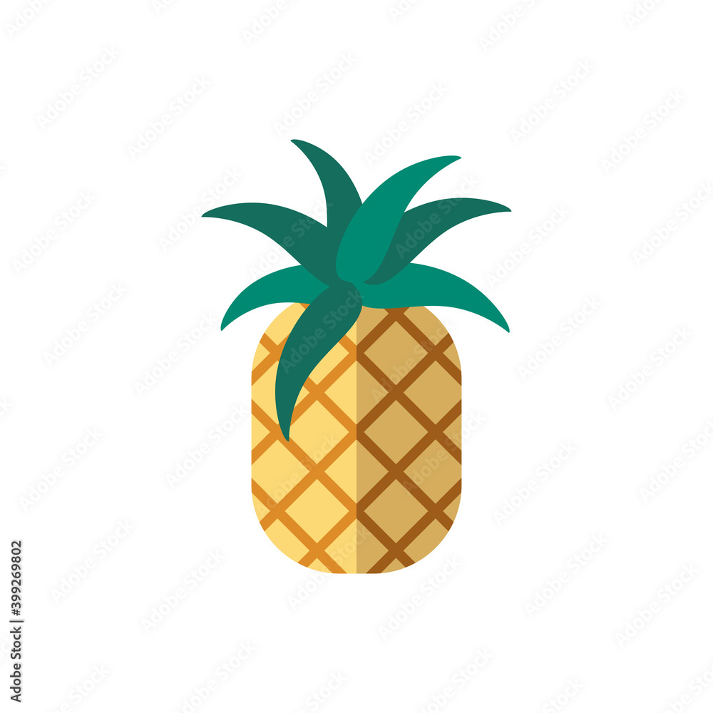 Fototapeta Pineapple flat icon. Color simple element from summer tourism collection. Creative Pineapple icon for web design, templates, infographics and more