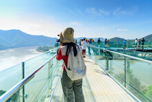 Tourists Stand Takephoto To Travel At Sky Walk Viewpoint New Landmark Thailand Skywalk, At Phra Yai Phu Khok Ngio Chiang Khan, Loei Province, Mekong River Thailand