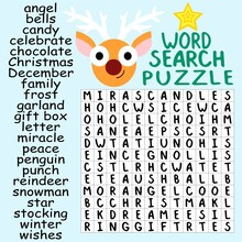 Christmas And New Year Word Search Puzzle Stock Vector Illustration. Funny Educational Winter Holidays Activity Page For Children. Winter Season Grand Word Search Puzzle For Kids Printable Worksheet