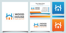 Modern Color Wood House Logo. Letter W And H For Home Logo Symbol With Business Card