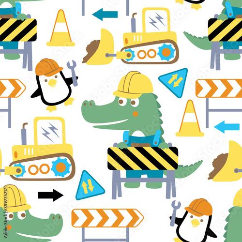 Fotografija vector of construction theme cartoon with crocodile and penguin