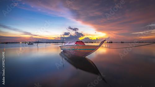 Canvas Wonderful Sunset moment at batam bintan island indonesia