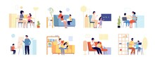 Parents Children Learning. Home Study, Mother Daughter Remote Education. Flat Adult Teacher And Student, Distance Teaching Utter Vector Set. Illustraton Childhood Studying At Home