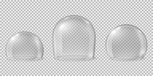 Glass Domes. Transparent Spheres, Clean Kitchen Glossy Display For Food. Isolated Realistic Crystal Protection Empty Caps Recent Vector Set. Illustration Glass Dome, Sphere Exhibition Model