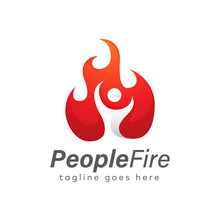 People Fire Logo Design Template