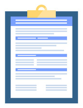 Clipboard With Document Containing Information On Project. Contract Or Agreement In Closeup, Isolated Icon Of Paper With Blank Pages. Checklist Or Business Info, Office Supplies, Notebook Vector