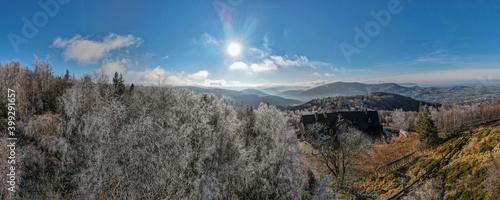 góry Beskid Śląski zimą z lotu ptaka, Równica na Śląsku w Polsce