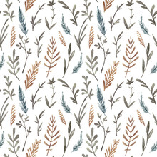 Seamless Pattern With Hand Painted Watercolor Floral Elements
