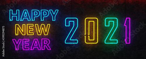 Obraz Neon Sign Happy New Year 2021 - fototapety do salonu