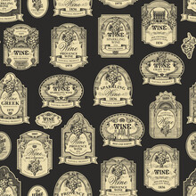 Seamless Pattern With Ornate Hand-drawn Wine Labels On A Dark Background In Vintage Style. Repeating Vector Background On The Theme Of Wine. Suitable For Wallpaper, Wrapping Paper, Fabric, Textile