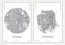 Travel Poster, Urban Street Plan City Map Los Angeles And San Francisco, Vector Illustration
